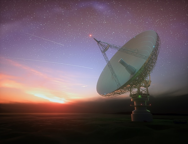 Giant Satellite Dish for Signal From Galaxy
